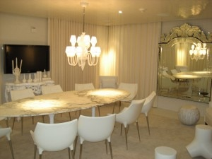 White private dinning room at SLS Hotel at Beverly Hills