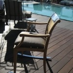 Rocking chair at the pool; the metal won't get hot under the sun