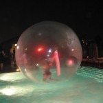 A live bubble floating on the pool