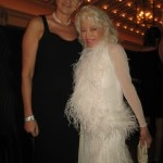 Madame Buzz Aldrin in a feathery dress