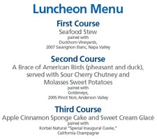 Inauguration Luncheon Menu