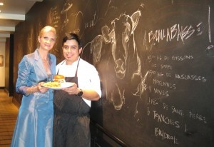 Sous chef Eric Samaniego with Sophie Gayot