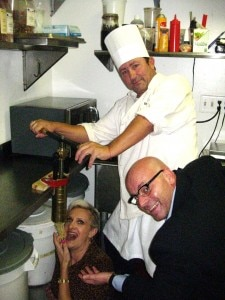 Stefano Ongaro, chef Roberto Franzoni and Sophie Gayot