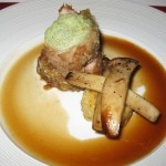 #2 Lyssa Barrera dish: my rating 5/10. Piglet tenderloin in a chestnut crust served with a maple syrup whisky sauce.