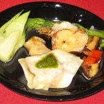 #5 Gerardo Avalos dish: my rating 5/10. Ponzu-glazed black cod, stir-fried shiitakes, bell peppers, baby bok choy and ginger pork wontons.