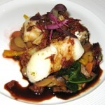 #6 Erik Powers dish: my rating 6/10. Pan-seared Atlantic cod with crispy guanciale, grill-smoked fingerling potato salad, maple-balsamic glaze and red beet jus.