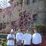 4 contestants before the competition in front of The Culinary Institute of America Greystone