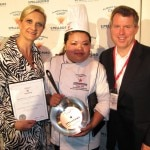 Signature's Dish Winner Kendra Orng with Mike Pengue from Nestlé and Sophie Gayot