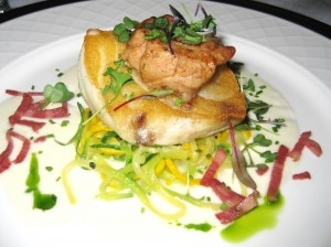 Roasted sea bass topped with veal sweet breads