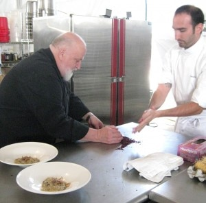 Chef Michel Richardo at work with chef Omri Aflalo