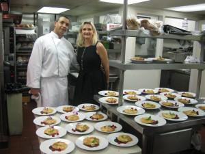 Chef Karim Razgallah presenting his desserts to Sophie Gayot