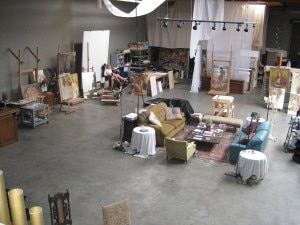 Alexey Steele's studio in Carson, CA, where you can see the painting from the exhibition on the right