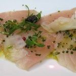 Andy Cook's hamachi carpaccio with caviar and citrus dressing