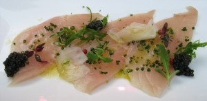 andycookhamachi 300x147 Andy Cooks hamachi carpaccio with caviar and citrus dressing