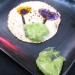 John Sedlar's corn tortillas embossed with flowers, to dip in a spicy guacamole