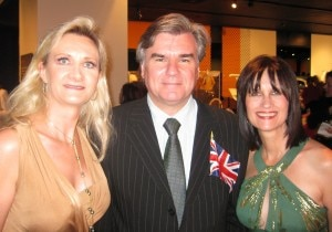 Bob Peirce, British Consul General in Los Angeles, his wife Sharon Harroun and Sophie Gayot