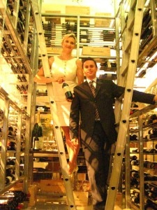 Partner-general manager Matteo Ferdinandi with Sophie Gayot in the wine tower