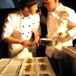 Chef Stefan Ritcher with his sous-chef plating