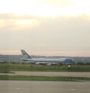 obamaairforceonefrance 289x300 Coincidentally we landed at Orly Airport right  after Air Force One. They were so excited with President Obama that they forgot the red carpet treatment for us…