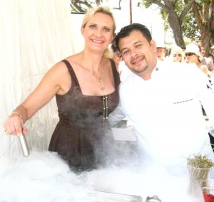 Chef de cuisine Jorge Chicas from The Bazaar with Sophie Gayot stirring a liquid nitrogen margarita