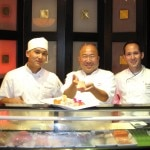 Chefs Frank Toshi Sugiura (middle), Jonathan Wood (right), and