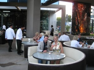 Partner-owner Lee Maen on the patio of the new BOA Steakhouse on Sunset with Sophie Gayot