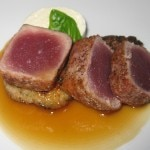 Seared ahi tuna wrapped in prosciutto