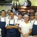 Chef Laurent Quenioux (in a white tee-shirt) from Bistro LQ and his team