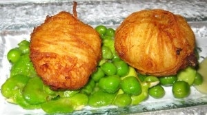 Smoked haddock in fresh fava beans