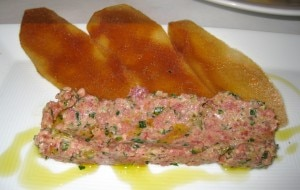 Beef tartare with baked potato chips