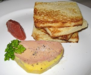 Foie gras terrine with rhubarb and brioche