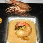 Santa Barbara prawn served with lobster mushrooms and braised young leeks