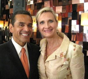 Mayor Antonio Villaraigosa with Sophie Gayot