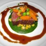 Wagyu beef with tiny Japanese mushrooms, creamed sweet corn on a parsley essence with truffled red wine sauce