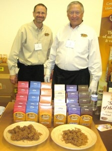 Bruce and Steve Jagoda of CJ's Stix chocolate dipped pretzels hand rolled in toffee chips