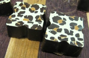 leopardprintchocolates 300x197 Leopard print chocolates from Happy Chocolates
