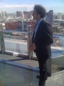 maloof on ghost skydeck 225x300 Owner of Palms Casino Resort, George Maloof, on the deck of Ghostbar