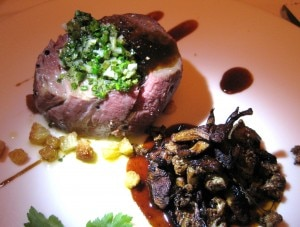 Poached beef with cauliflower, chanterelle mushrooms and salsa verde