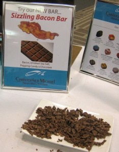 sizzlingbaconbarchristophermichael 234x300 Sizzling Bacon Chocolate Bar from Christopher Michael