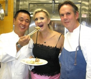 Chefs Nobu Matsuhisa and Thomas Keller with Sophie Gayot