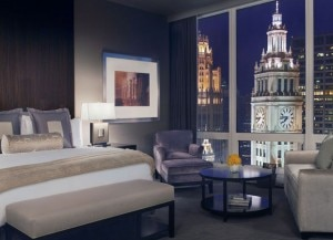 ch bedroomview 300x217 A guest room at Trump International Hotel & Tower Chicago