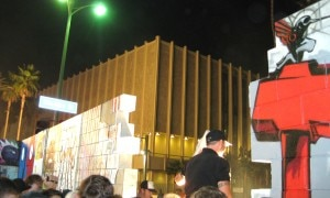 The symbolic foam wall on Wilshire Blvd. is now down