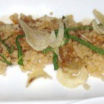 "Nantucket ""Sugar Drop"" bay scallops with foie gras, cinnamon couscous, golden raisins and crispy garlic"