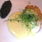 American caviar with a smoked sturgeon croquette, Hollandaise foam and micro chive