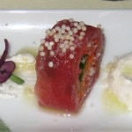 Big eye tuna with carpaccio, wasabi créme fraîche and yuzu vinaigrette