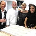Actress Julia Louis-Dreyfus with Alain & Sophie Gayot in the bakery, with pastry chef Scott Wheatfill