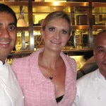 Chefs Michael Mina and Katsuya Uechi with Sophie Gayot