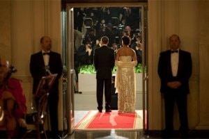 President and Michelle Obama host their first state dinner