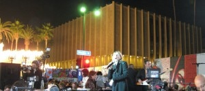 Chanteuse Ute Lemper in concert, celebrating the anniversary the fall of the Berlom Wall on WIlshire Blvd, in Los Angeles