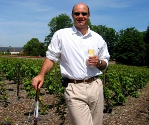 img 5193 1 300x252 Alain Gayot sipping Clos du Mesnil in the Clos du Mesnil Vineyard